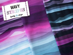 Baumwoll-Jerseys wavy Stripes violett