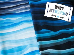 Baumwoll-Jerseys wavy Stripes blau