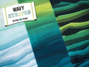 Baumwoll-Jersey wavy Stripes grün